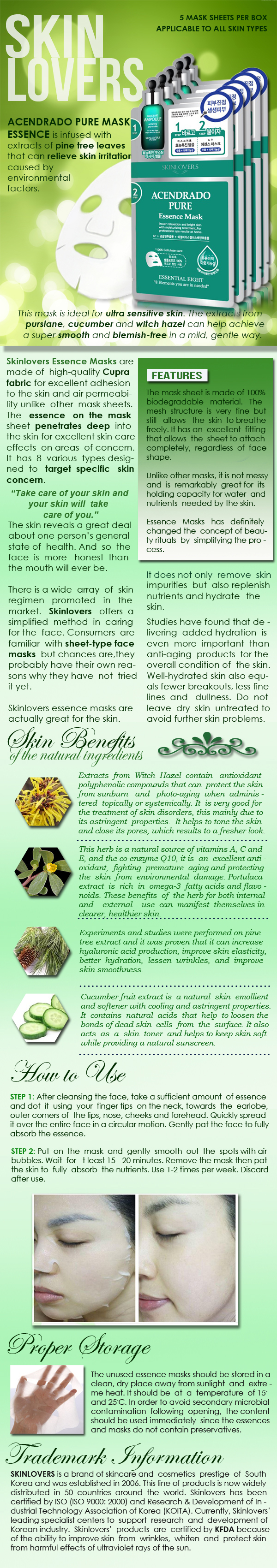 Skinlovers Acendrado Pure Essence Mask Product Information