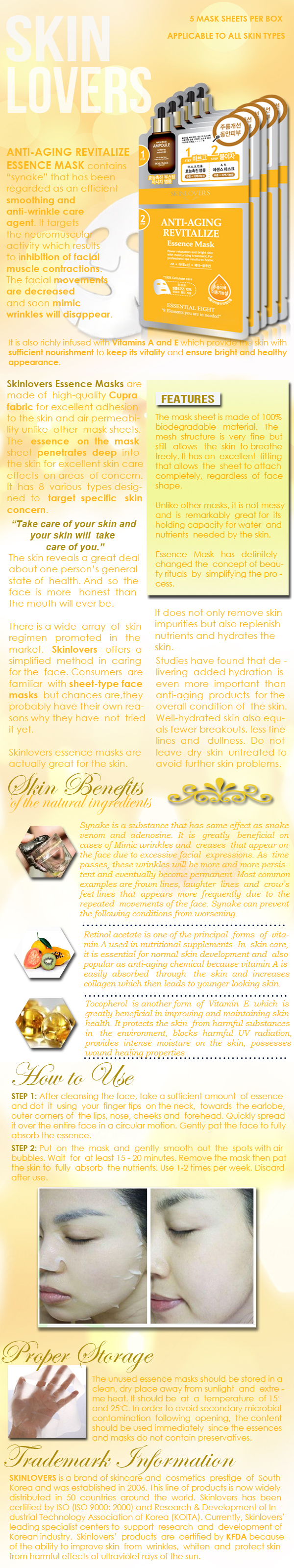 Skinlovers Anti-Aging Revitalize Essence Mask Product Information