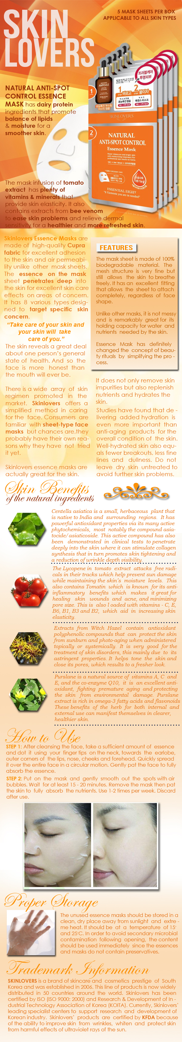 Skinlovers Natural Anti-Spot Control Essence Mask Product Information