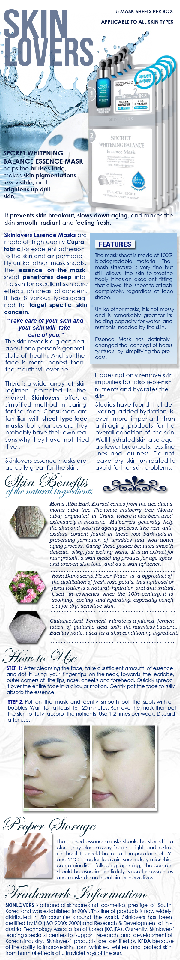 Skinlovers Secret Whitening Balance Essence Mask Product Information